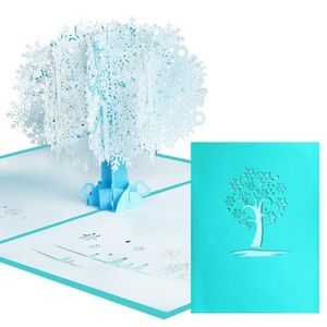 3D Snowflake Tree Pop-Up Greeting Card, Laser 🌸